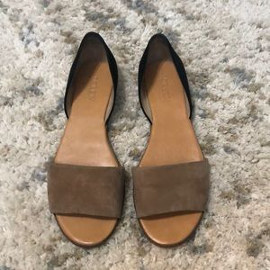 J Crew black and tan suede flats!